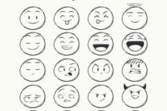 20款铅笔手绘圆脸表情矢量素材