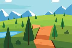 卡通雪山平原风景矢量素材