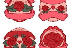 4款红色玫瑰标签矢量素材