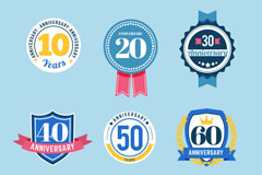 6款创意周年纪念徽章矢量素材