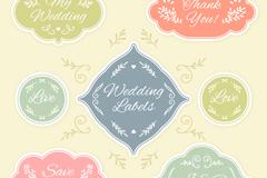 7款素雅花纹婚礼标签矢量图
