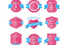 9款粉色婚礼标签矢量素材