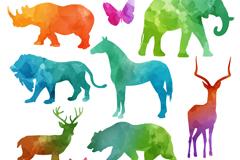 12款水彩色野生动物剪影乐虎娱乐