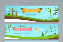 3款春季风景banner矢量素材