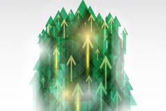 绿色动感箭头群矢量素材