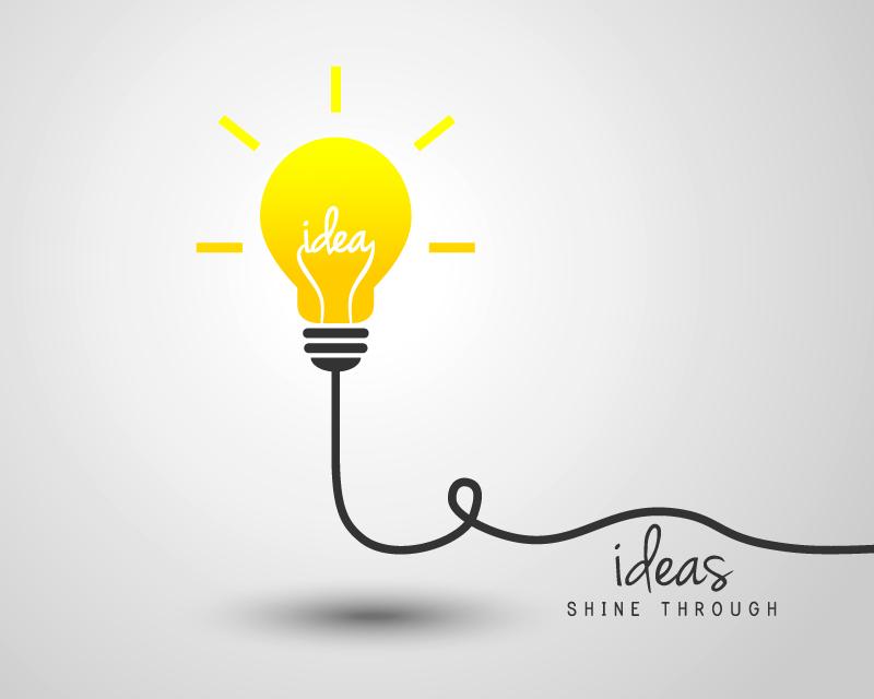创意黄色思维灯泡矢量素材图片