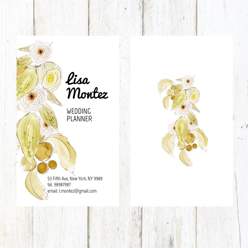 水彩花卉婚礼策划师名片矢量素材图片