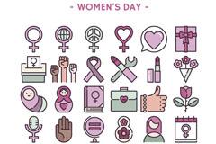 30款创意妇女节图标矢量素材