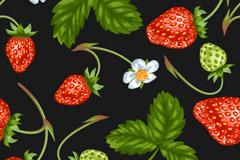 带花的草莓无缝背景矢量素材