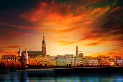 海边城市的晚霞风景矢量素材