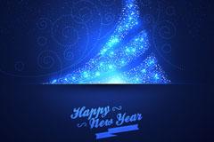 蓝色光晕圣诞树贺卡矢量素材