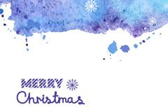 素雅水彩绘圣诞贺卡矢量素材