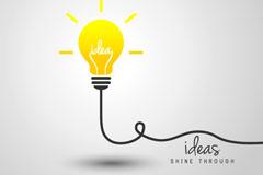 创意黄色思维灯泡矢量素材