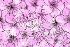 紫色水彩花朵无缝背景矢量素材