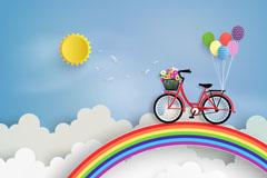 彩虹上的单车矢量素材