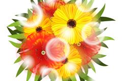 圆形彩色花卉和光晕矢量素材