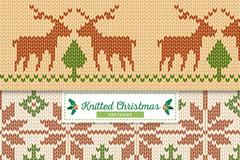 3款圣诞针织图案无缝背景矢量素材