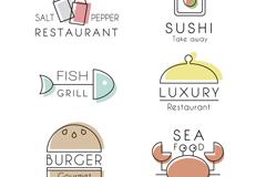 6款素雅餐厅标志矢量素材
