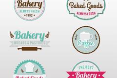 6款面包店食品商铺标签矢量素材