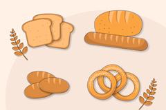 4款美味面包设计矢量素材
