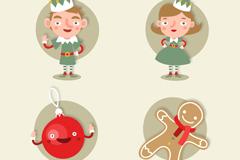 2个圣诞精灵和2个圣诞元素矢量素