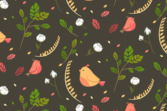 卡通小鸟和叶子无缝背景矢量图