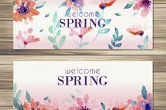 2款水彩绘春季花朵banner矢量素材