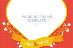 创意心形婚礼邀请卡装饰框矢量素材