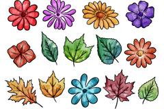 18款彩绘花朵和叶子矢量素材