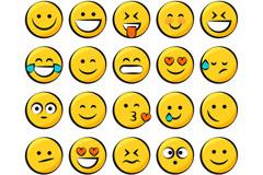 25款黄色创意圆形表情矢量素材