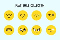12款扁平化圆脸表情矢量素材