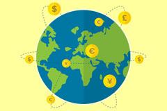 创意地球世界货币插画矢量素材