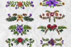 10款彩绘花朵边框矢量素材