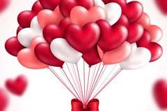 精美红色爱心气球束矢量素材