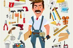 卡通装修工人及工具矢量素材