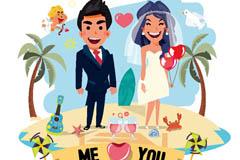 卡通沙滩上的婚礼新人矢量素材