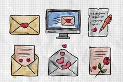 9款水彩绘情人节书信矢量素材