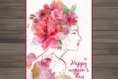 水彩绘女子侧脸妇女节贺卡矢量图