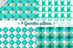 4款绿色几何形图案无缝背景矢量图