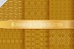 6款金色花纹无缝背景矢量素材