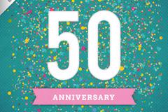 创意50周年纪念贺卡矢量素材