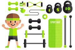 16款扁平化男子和健身器材矢量图