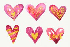 9款手绘红色爱心和金色装饰矢量素材