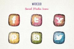 9款彩绘社交媒体图标矢量素材