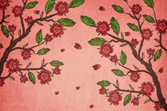盛开的红色樱花树矢量素材