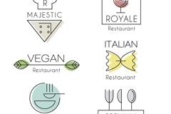 6款简洁创意餐厅标志矢量素材