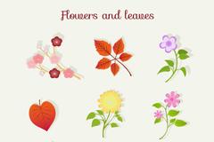 9款彩色花朵和叶子矢量素材