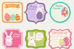 6款彩色复活节留言卡矢量素材