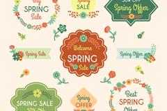 9款卡通花卉春季促销标签矢量素材