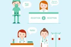 4款卡通医务人员和语言设计矢量素材